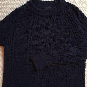 J. Crew Navy Women's Cableknit Crew Sweater